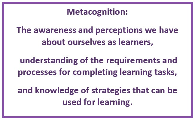 Metacognition: The awareness and perceptions we have about ourselves as learners, understanding of the requirements and processes for completing learning tasks, and knowledge of strategies that can be used for learning.